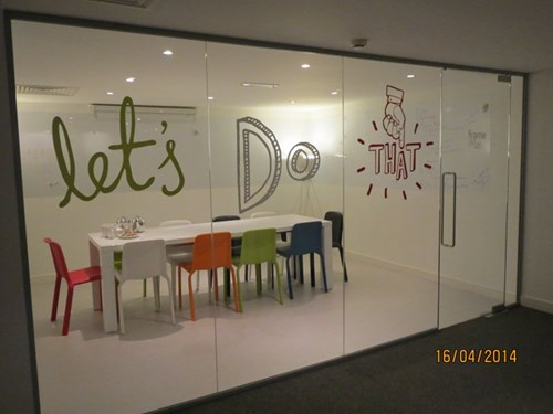 Creative glass office partitions for a modern office.